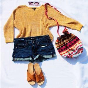 Mustard Topshop Knit Sweater, Ugg Sandals, Purse